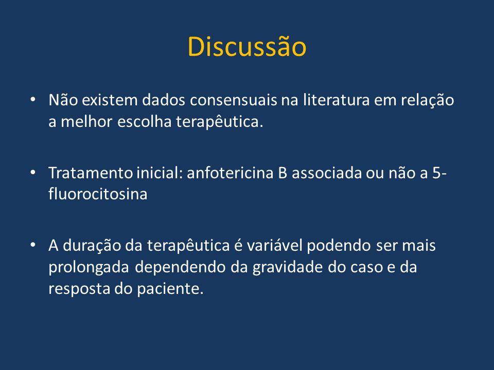 Discussão Não existem dados consensuais na literatura em relação a melhor escolha terapêutica. Tratamento inicial: anfotericina B associada ou não a 5