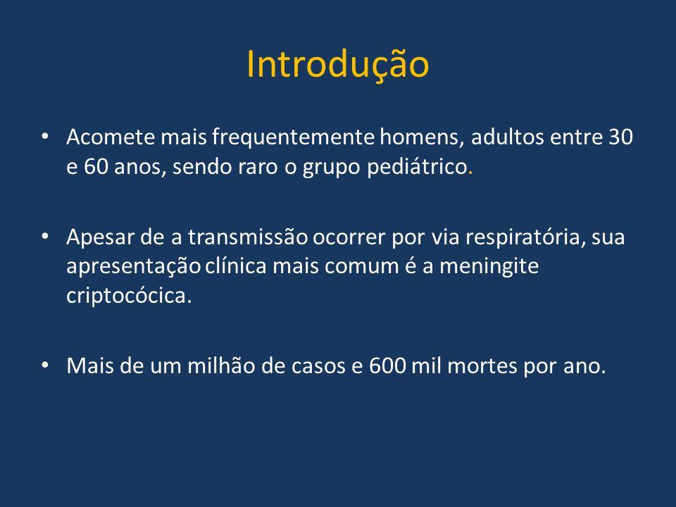Introdução Acomete mais frequentemente homens, adultos entre 30 e 60 anos, sendo raro o grupo pediátrico. Apesar de a transmissão ocorrer por via resp