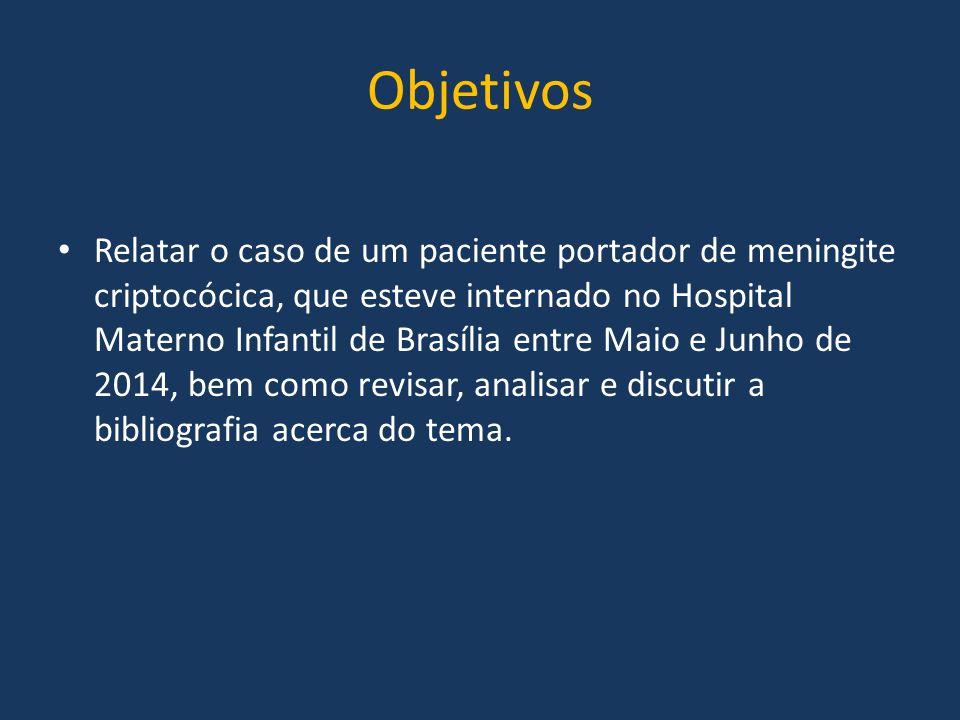 Objetivos Relatar o caso de um paciente portador de meningite criptocócica, que esteve internado no Hospital Materno Infantil de Brasília entre Maio e