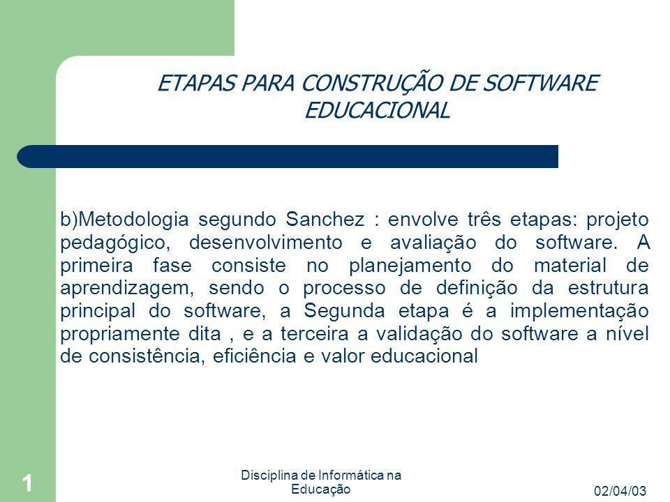 02/04/03 Disciplina de Informática na Educação 1 ETAPAS PARA CONSTRUÇÃO DE SOFTWARE EDUCACIONAL b)Metodologia segundo Sanchez : envolve três etapas: projeto pedagógico, desenvolvimento e avaliação do software.