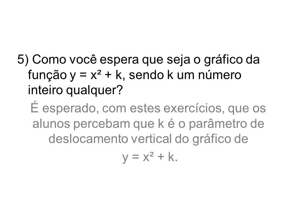 5) Como você espera que seja o gráfico da função y = x² + k, sendo k um número inteiro qualquer? É esperado, com estes exercícios, que os alunos perce