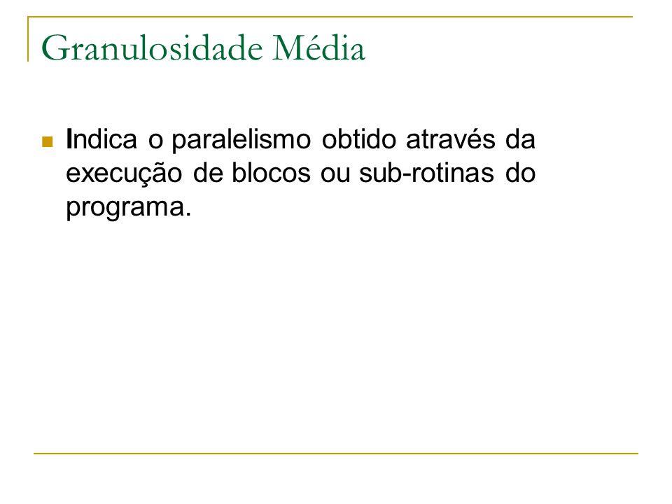 Granulosidade Média Indica o paralelismo obtido através da execução de blocos ou sub-rotinas do programa.