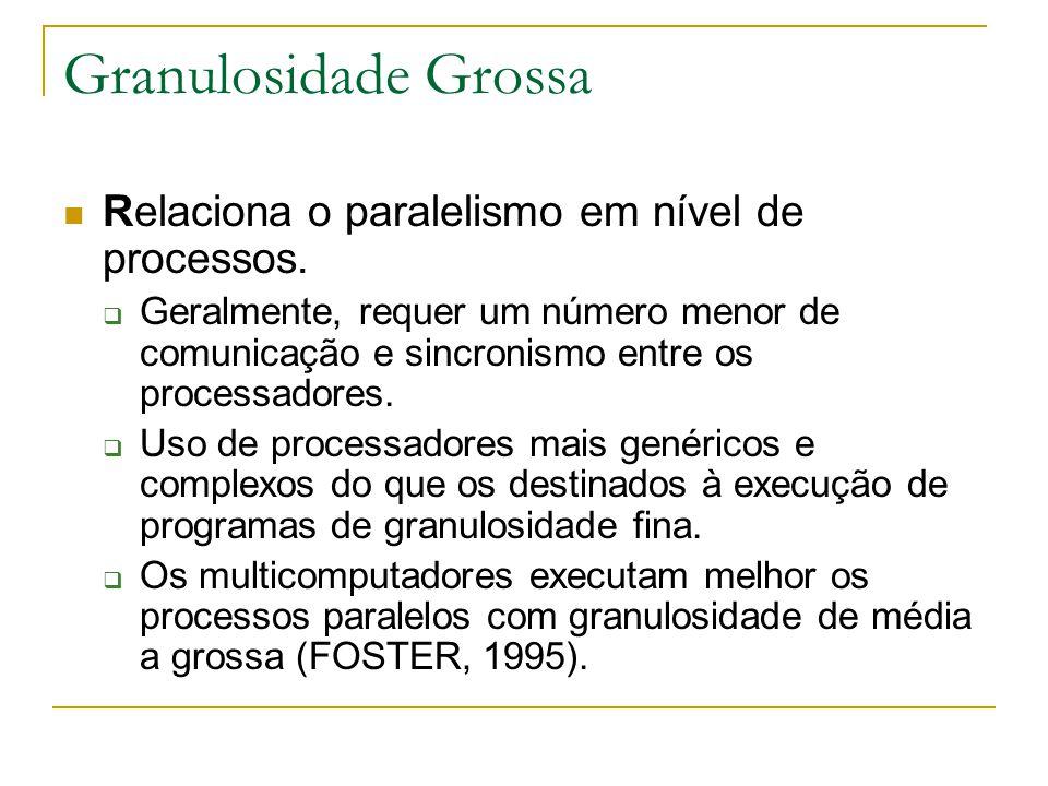 Granulosidade Grossa Relaciona o paralelismo em nível de processos.  Geralmente, requer um número menor de comunicação e sincronismo entre os process