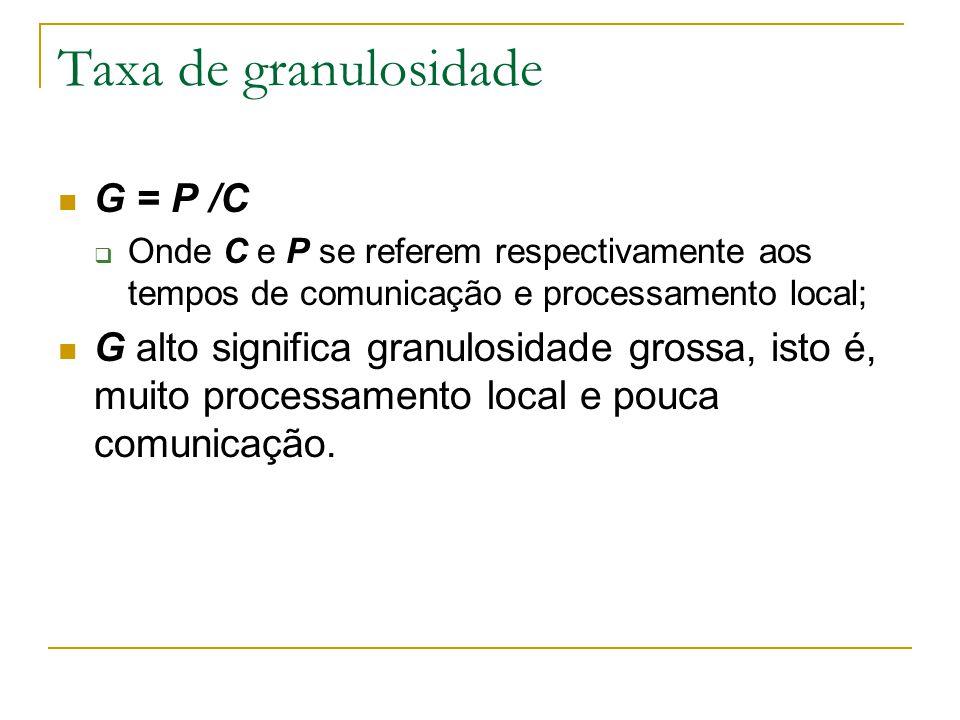 Taxa de granulosidade G = P /C  Onde C e P se referem respectivamente aos tempos de comunicação e processamento local; G alto significa granulosidade