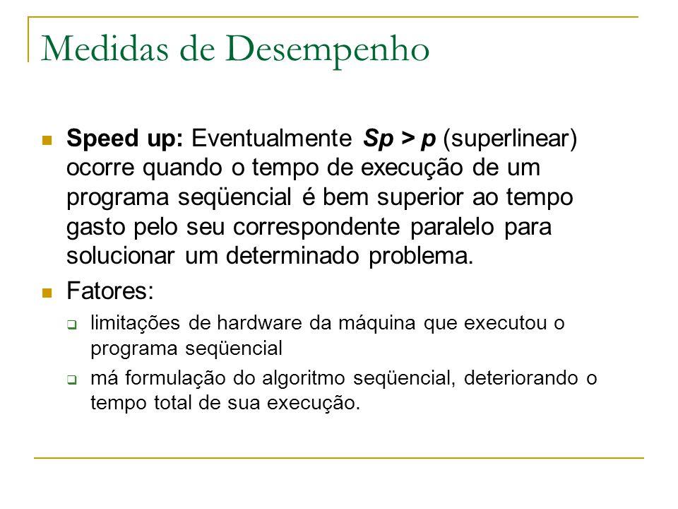 Medidas de Desempenho Speed up: Eventualmente Sp > p (superlinear) ocorre quando o tempo de execução de um programa seqüencial é bem superior ao tempo