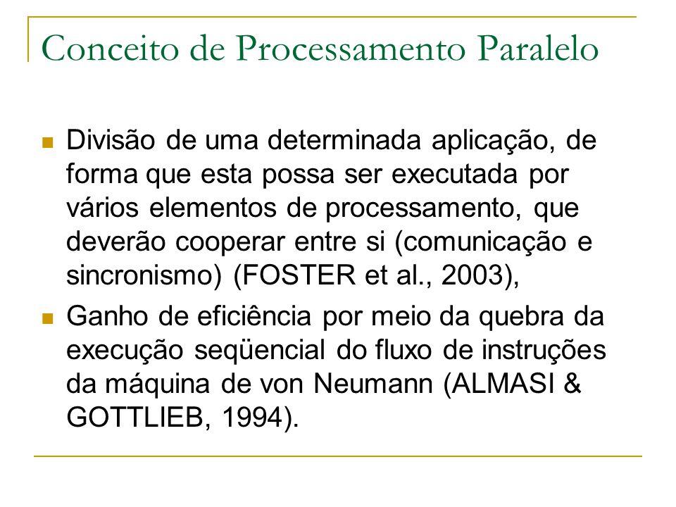 Conceito de Processamento Paralelo Divisão de uma determinada aplicação, de forma que esta possa ser executada por vários elementos de processamento,