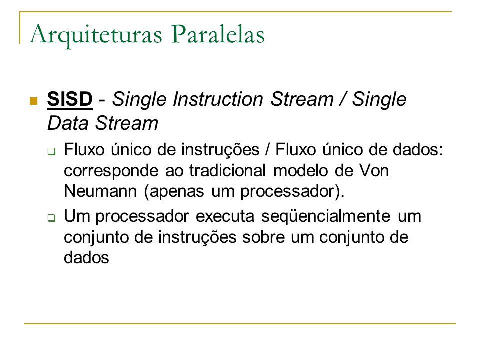 Arquiteturas Paralelas SISD - Single Instruction Stream / Single Data Stream  Fluxo único de instruções / Fluxo único de dados: corresponde ao tradic