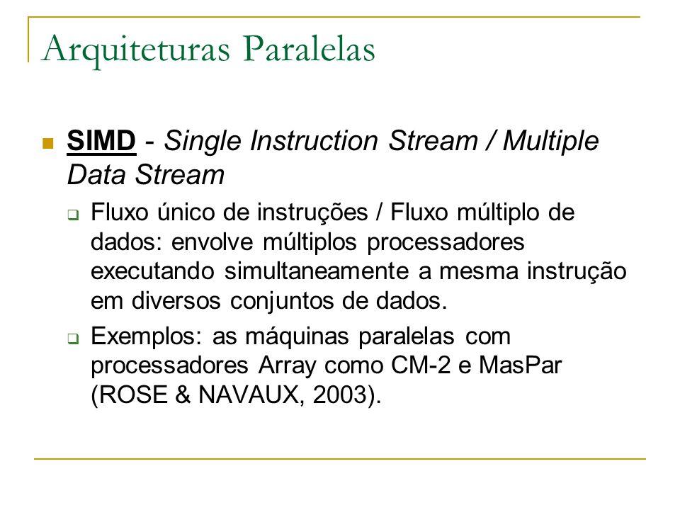Arquiteturas Paralelas SIMD - Single Instruction Stream / Multiple Data Stream  Fluxo único de instruções / Fluxo múltiplo de dados: envolve múltiplo