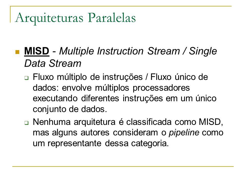Arquiteturas Paralelas MISD - Multiple Instruction Stream / Single Data Stream  Fluxo múltiplo de instruções / Fluxo único de dados: envolve múltiplo
