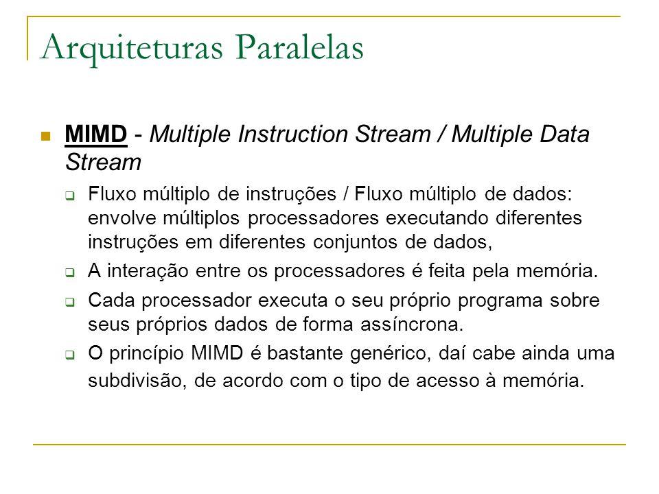 Arquiteturas Paralelas MIMD - Multiple Instruction Stream / Multiple Data Stream  Fluxo múltiplo de instruções / Fluxo múltiplo de dados: envolve múl