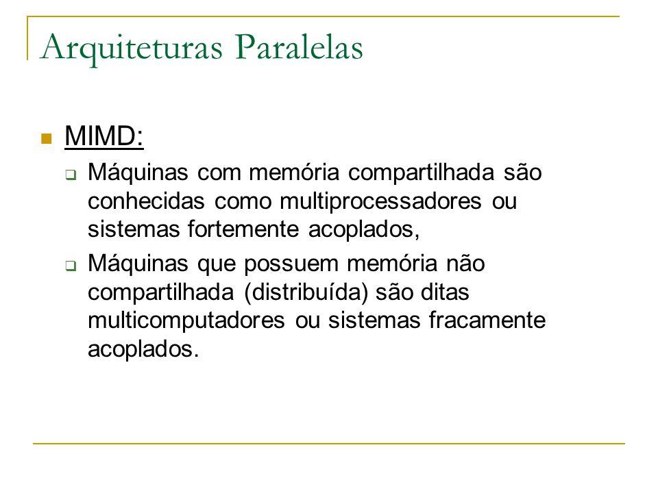 Arquiteturas Paralelas MIMD:  Máquinas com memória compartilhada são conhecidas como multiprocessadores ou sistemas fortemente acoplados,  Máquinas
