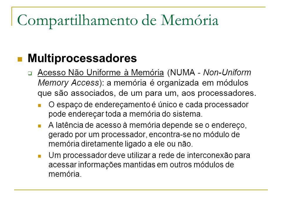 Compartilhamento de Memória Multiprocessadores  Acesso Não Uniforme à Memória (NUMA - Non-Uniform Memory Access): a memória é organizada em módulos q