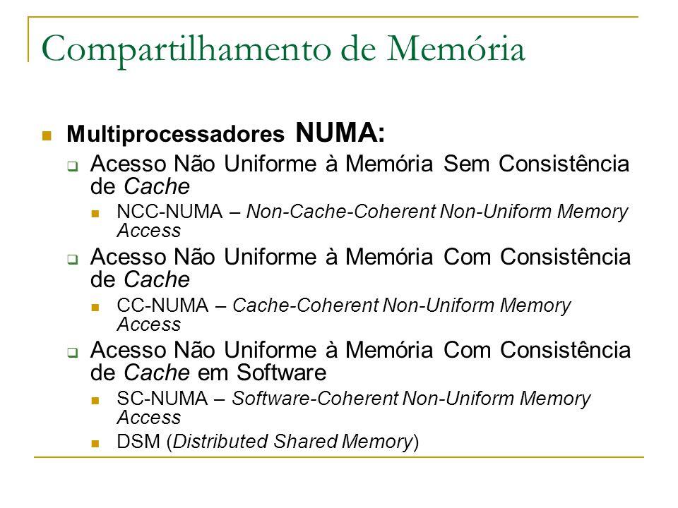Compartilhamento de Memória Multiprocessadores NUMA:  Acesso Não Uniforme à Memória Sem Consistência de Cache NCC-NUMA – Non-Cache-Coherent Non-Unifo
