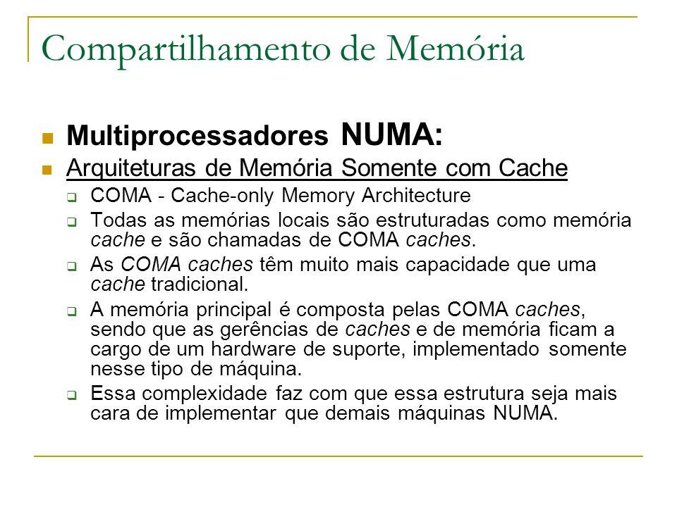 Compartilhamento de Memória Multiprocessadores NUMA: Arquiteturas de Memória Somente com Cache  COMA - Cache-only Memory Architecture  Todas as memó