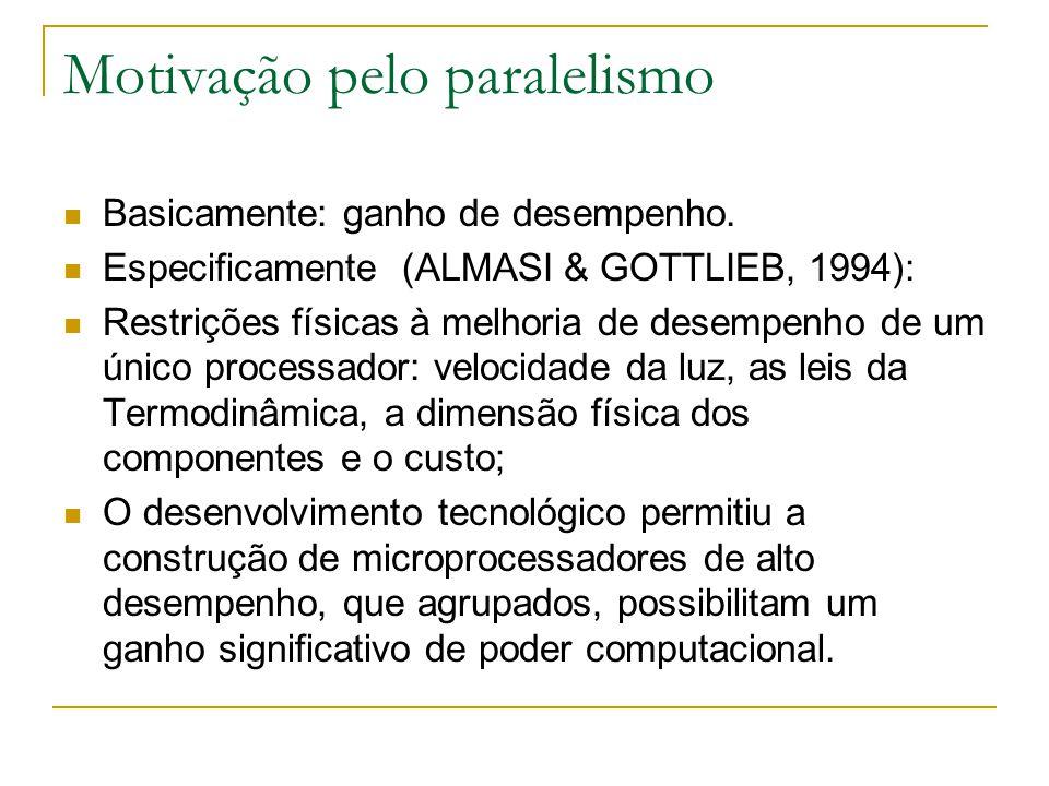 Motivação pelo paralelismo Basicamente: ganho de desempenho. Especificamente (ALMASI & GOTTLIEB, 1994): Restrições físicas à melhoria de desempenho de