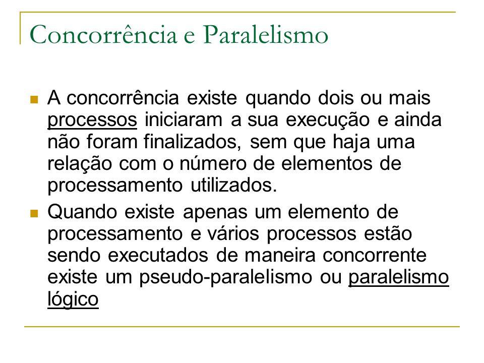 Concorrência e Paralelismo Paralelismo lógico:  os processos estão supostamente sendo executados ao mesmo tempo  há apenas o compartilhamento do elemento de processamento entre os processos em execução.