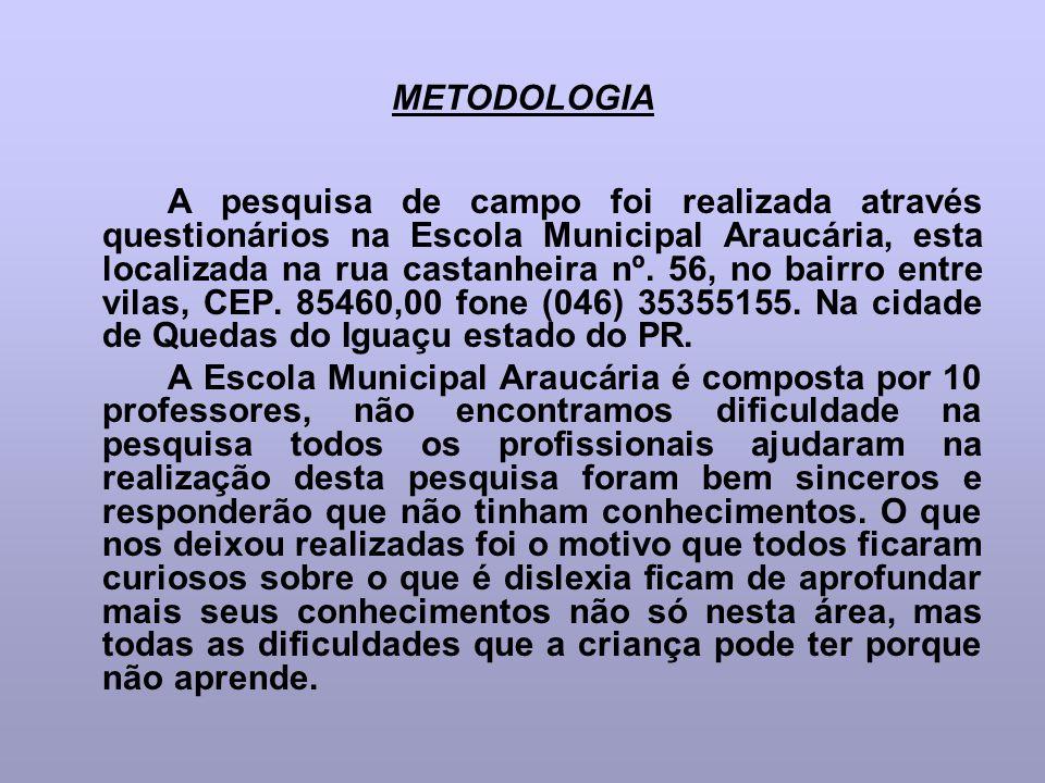 METODOLOGIA A pesquisa de campo foi realizada através questionários na Escola Municipal Araucária, esta localizada na rua castanheira nº. 56, no bairr