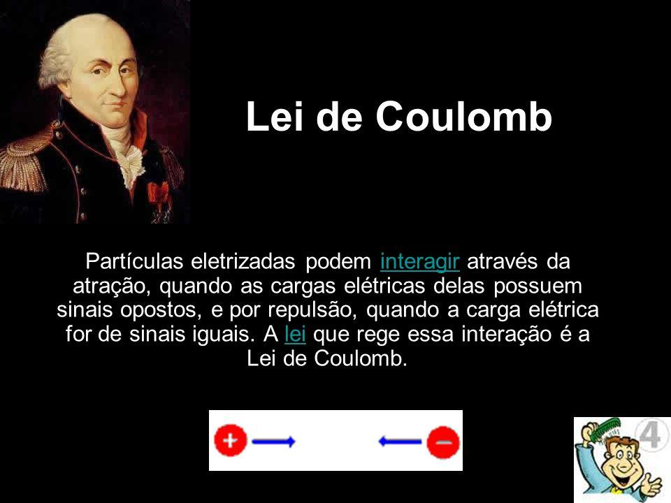 Lei de Coulomb Partículas eletrizadas podem interagir através da atração, quando as cargas elétricas delas possuem sinais opostos, e por repulsão, qua