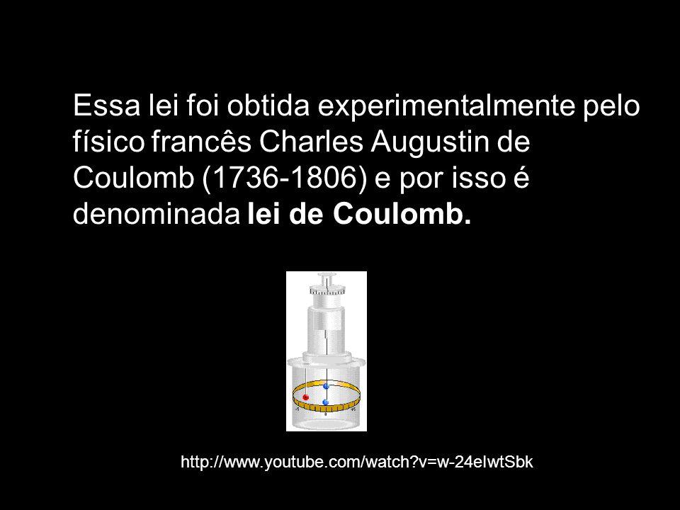 Essa lei foi obtida experimentalmente pelo físico francês Charles Augustin de Coulomb (1736-1806) e por isso é denominada lei de Coulomb. http://www.y