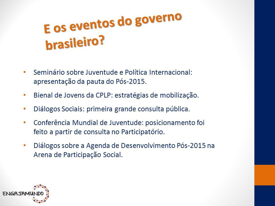 E os eventos do governo brasileiro? Seminário sobre Juventude e Política Internacional: apresentação da pauta do Pós-2015. Bienal de Jovens da CPLP: e