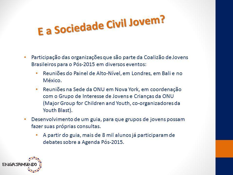 E a Sociedade Civil Jovem? Participação das organizações que são parte da Coalizão de Jovens Brasileiros para o Pós-2015 em diversos eventos: Reuniões