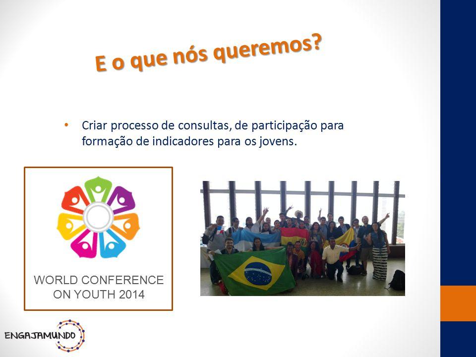 E o que nós queremos? Criar processo de consultas, de participação para formação de indicadores para os jovens. WORLD CONFERENCE ON YOUTH 2014