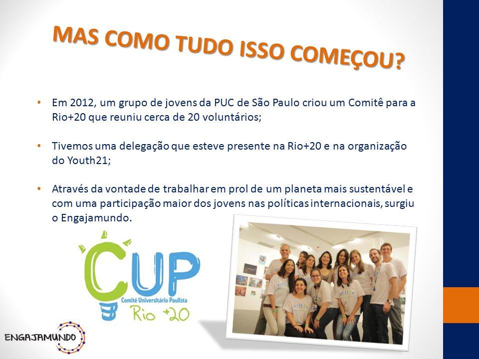 MAS COMO TUDO ISSO COMEÇOU? Em 2012, um grupo de jovens da PUC de São Paulo criou um Comitê para a Rio+20 que reuniu cerca de 20 voluntários; Tivemos