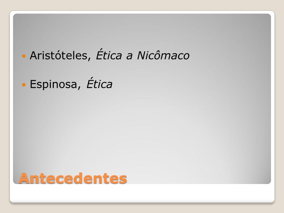 Antecedentes Aristóteles, Ética a Nicômaco Espinosa, Ética