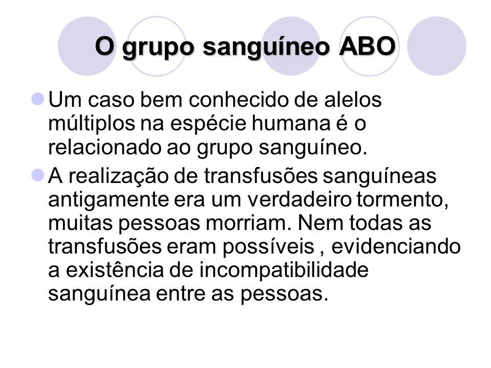 O grupo sanguíneo ABO Um caso bem conhecido de alelos múltiplos na espécie humana é o relacionado ao grupo sanguíneo. A realização de transfusões sang
