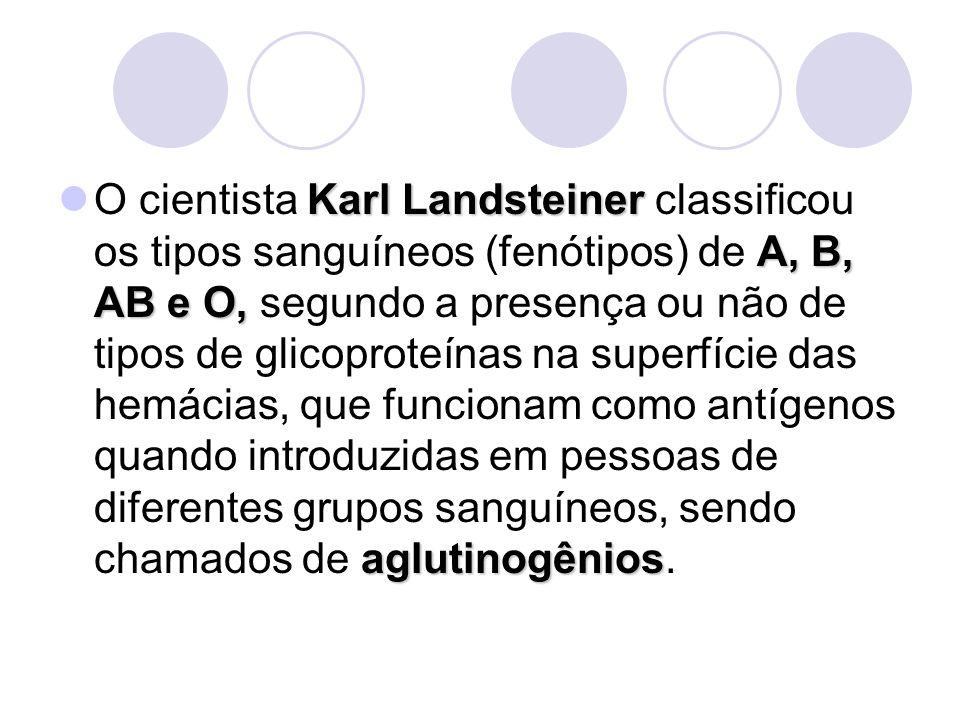 Karl Landsteiner A, B, AB e O, aglutinogênios O cientista Karl Landsteiner classificou os tipos sanguíneos (fenótipos) de A, B, AB e O, segundo a pres