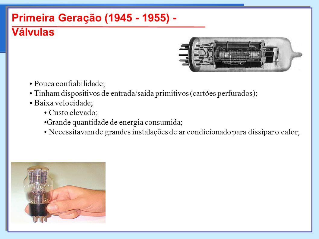 Primeira Geração (1945 - 1955) - Válvulas Pouca confiabilidade; Pouca confiabilidade; Tinham dispositivos de entrada/saída primitivos (cartões perfurados); Tinham dispositivos de entrada/saída primitivos (cartões perfurados); Baixa velocidade; Baixa velocidade; Custo elevado; Custo elevado; Grande quantidade de energia consumida;Grande quantidade de energia consumida; Necessitavam de grandes instalações de ar condicionado para dissipar o calor; Necessitavam de grandes instalações de ar condicionado para dissipar o calor;