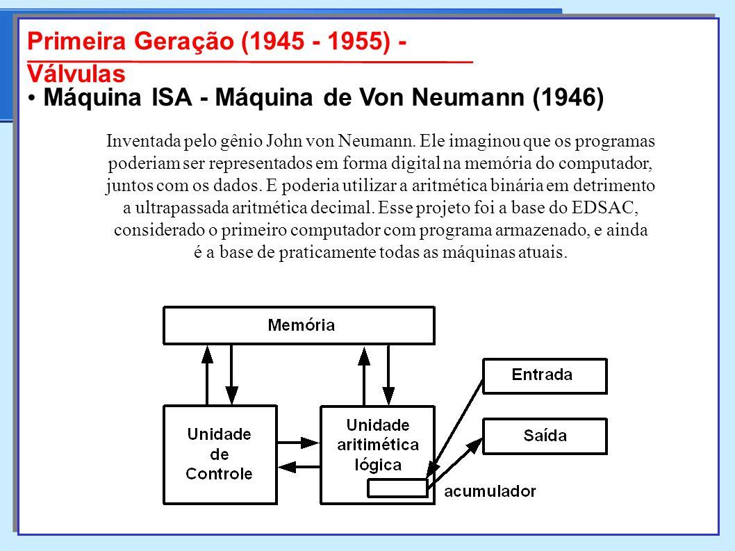 Primeira Geração (1945 - 1955) - Válvulas Inventada pelo gênio John von Neumann.