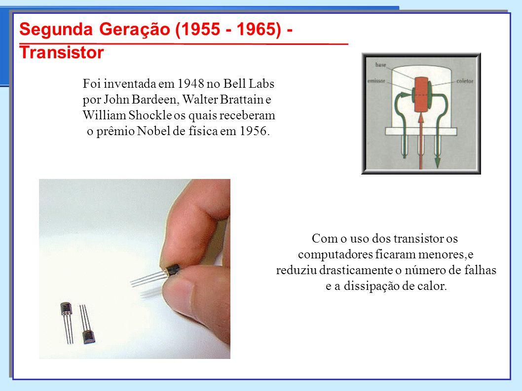 Segunda Geração (1955 - 1965) - Transistor Foi inventada em 1948 no Bell Labs por John Bardeen, Walter Brattain e William Shockle os quais receberam o prêmio Nobel de física em 1956.