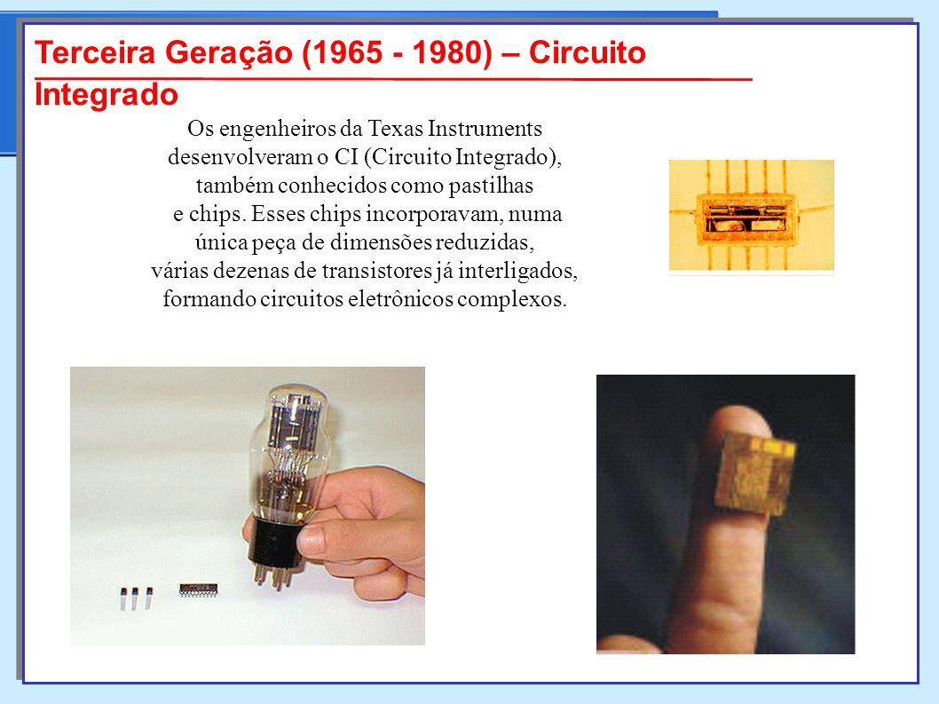 Terceira Geração (1965 - 1980) – Circuito Integrado Os engenheiros da Texas Instruments desenvolveram o CI (Circuito Integrado), também conhecidos como pastilhas e chips.