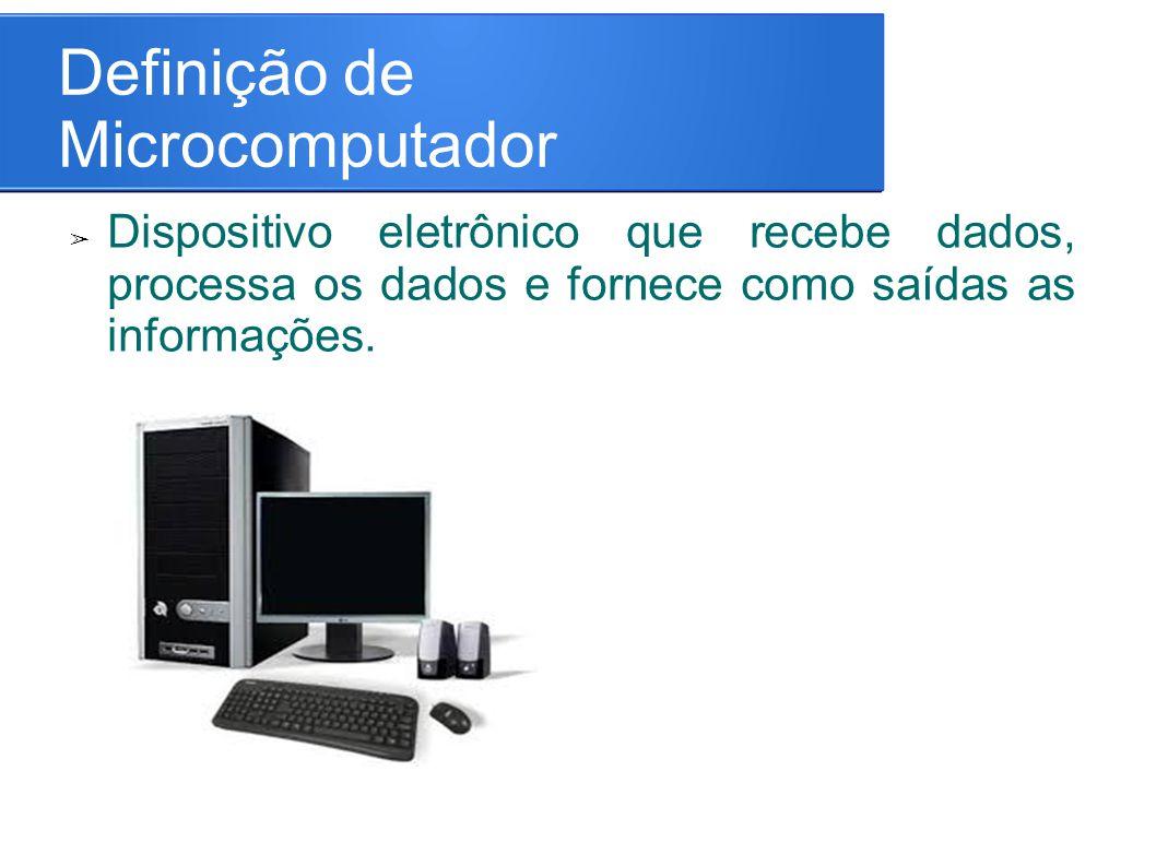 Definição de Microcomputador ➢ Dispositivo eletrônico que recebe dados, processa os dados e fornece como saídas as informações.