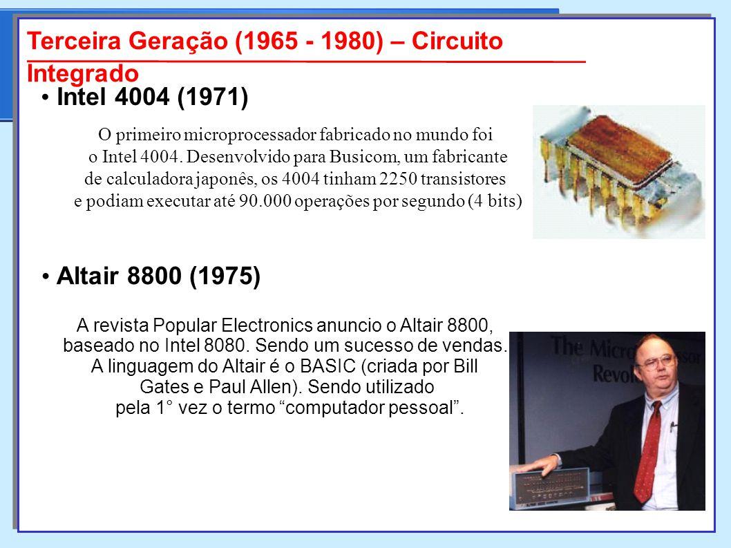 O primeiro microprocessador fabricado no mundo foi o Intel 4004.