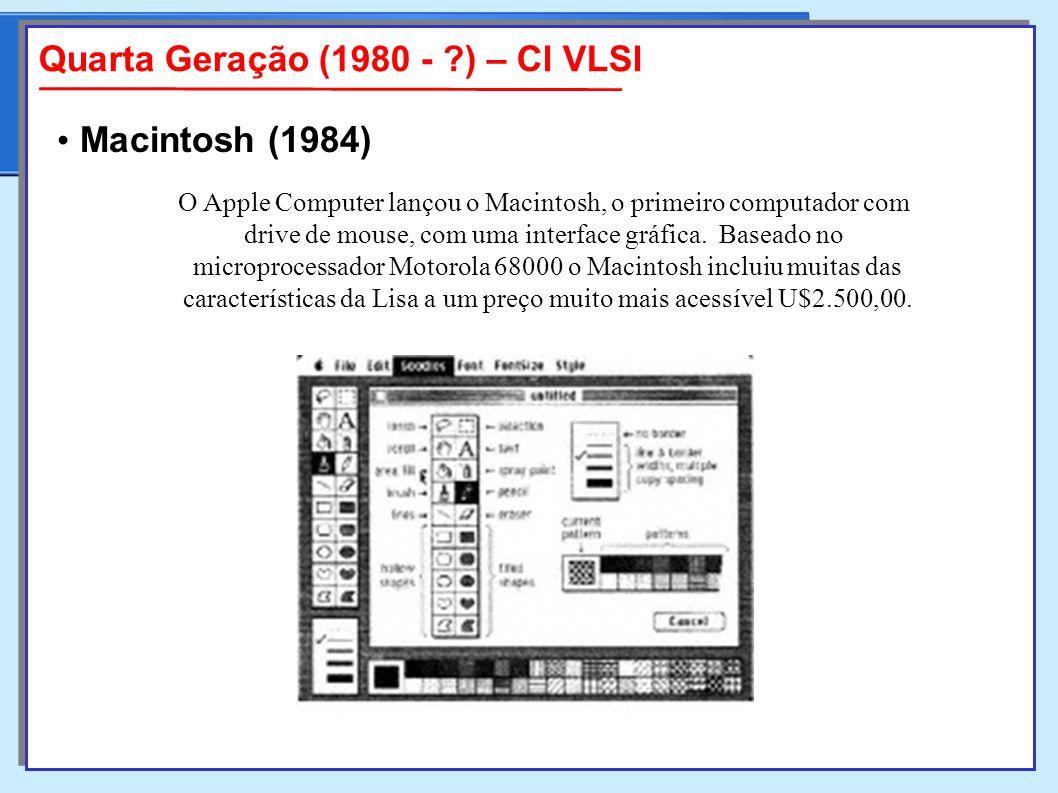 O Apple Computer lançou o Macintosh, o primeiro computador com drive de mouse, com uma interface gráfica.