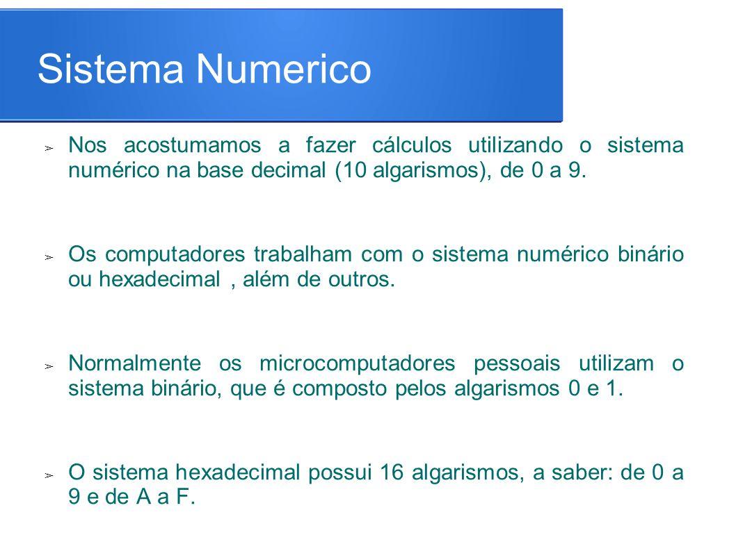 Sistema Numerico ➢ Nos acostumamos a fazer cálculos utilizando o sistema numérico na base decimal (10 algarismos), de 0 a 9.