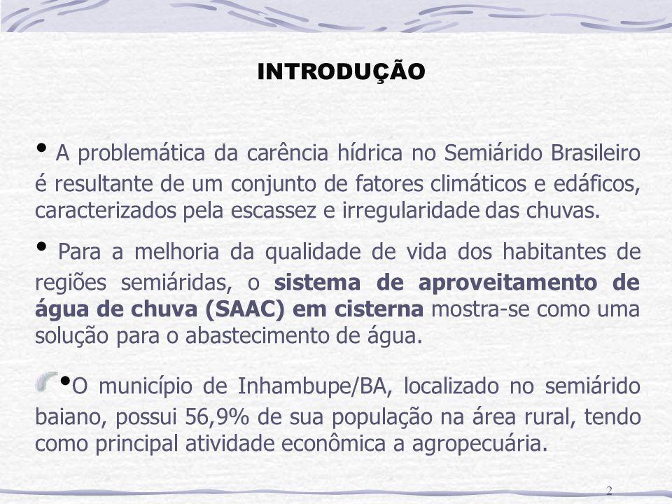 INTRODUÇÃO 2 A problemática da carência hídrica no Semiárido Brasileiro é resultante de um conjunto de fatores climáticos e edáficos, caracterizados pela escassez e irregularidade das chuvas.