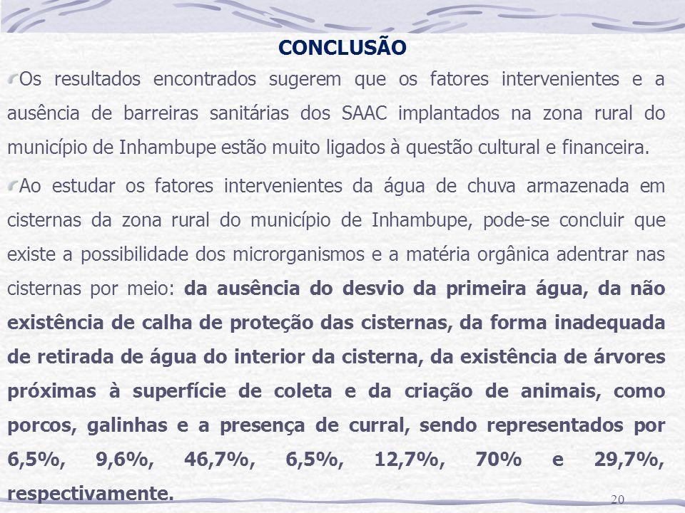 CONCLUSÃO 20 Os resultados encontrados sugerem que os fatores intervenientes e a ausência de barreiras sanitárias dos SAAC implantados na zona rural do município de Inhambupe estão muito ligados à questão cultural e financeira.