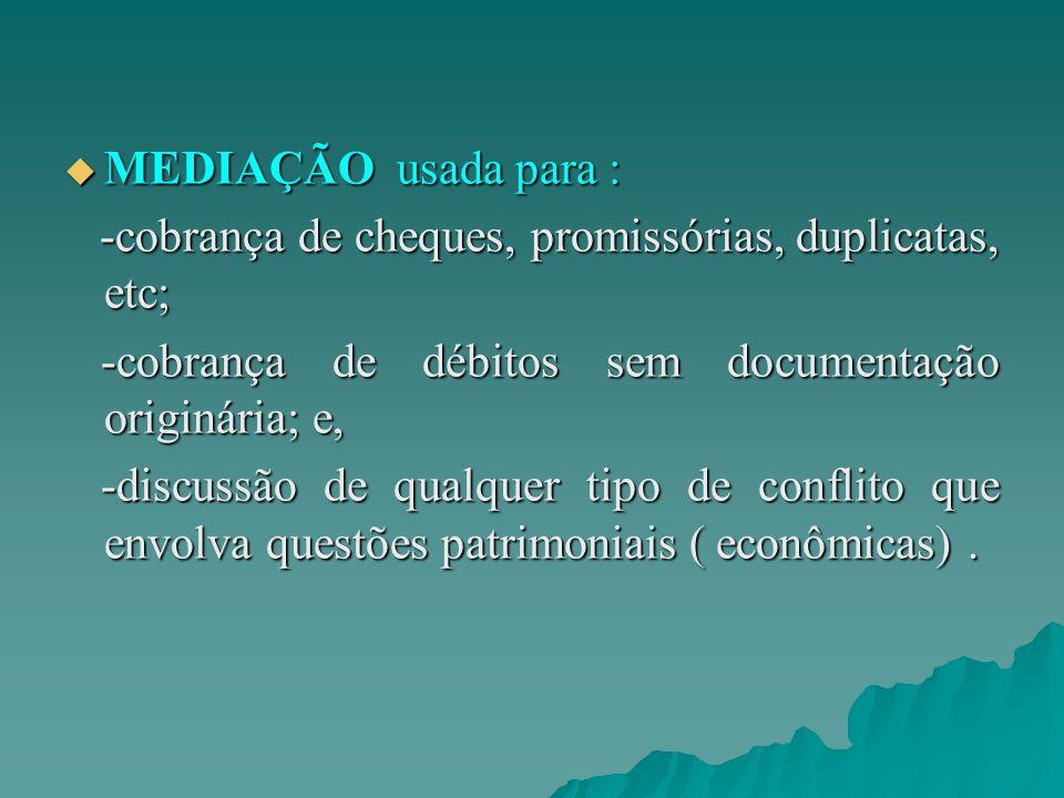  MEDIAÇÃO usada para : -cobrança de cheques, promissórias, duplicatas, etc; -cobrança de cheques, promissórias, duplicatas, etc; -cobrança de débitos sem documentação originária; e, -cobrança de débitos sem documentação originária; e, -discussão de qualquer tipo de conflito que envolva questões patrimoniais ( econômicas).