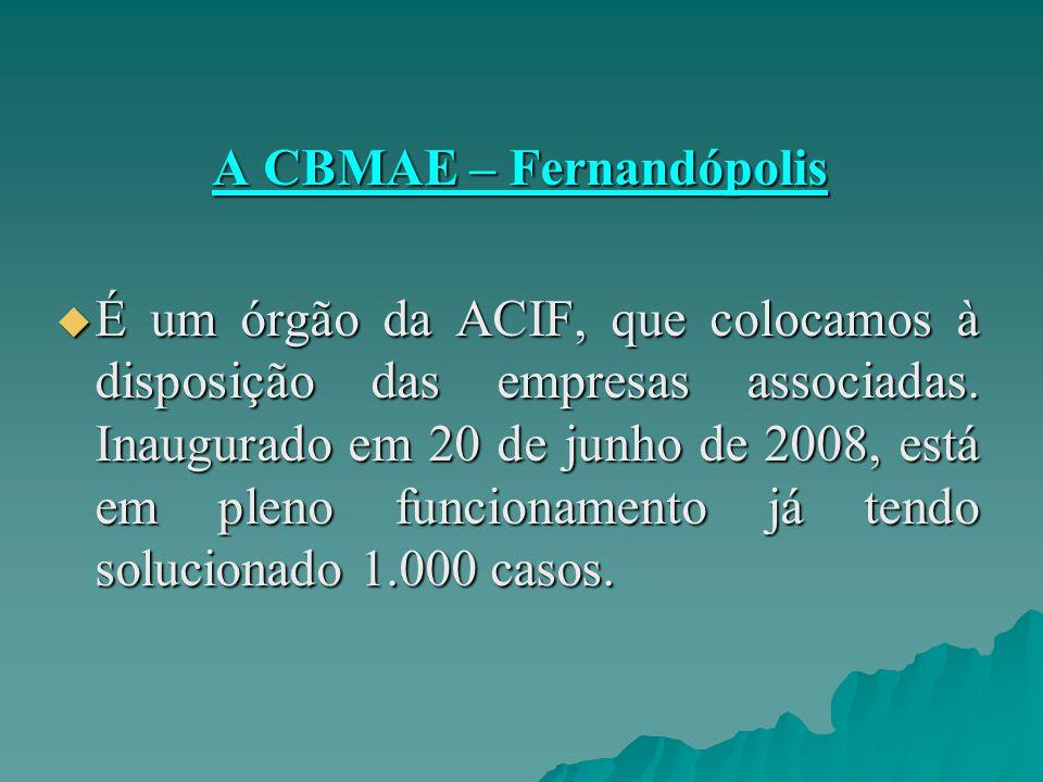 A CBMAE – Fernandópolis A CBMAE – Fernandópolis  É um órgão da ACIF, que colocamos à disposição das empresas associadas. Inaugurado em 20 de junho de