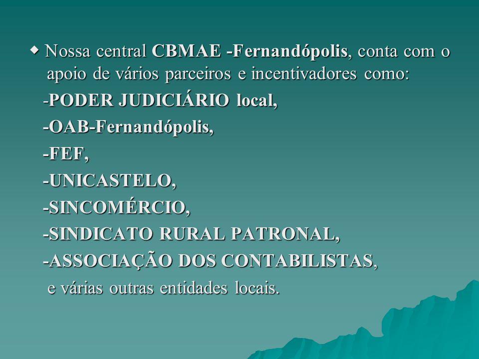 ◆ Nossa central CBMAE -Fernandópolis, conta com o apoio de vários parceiros e incentivadores como: -PODER JUDICIÁRIO local, -PODER JUDICIÁRIO local, -OAB-Fernandópolis, -OAB-Fernandópolis, -FEF, -FEF, -UNICASTELO, -UNICASTELO, -SINCOMÉRCIO, -SINCOMÉRCIO, -SINDICATO RURAL PATRONAL, -SINDICATO RURAL PATRONAL, -ASSOCIAÇÃO DOS CONTABILISTAS, -ASSOCIAÇÃO DOS CONTABILISTAS, e várias outras entidades locais.