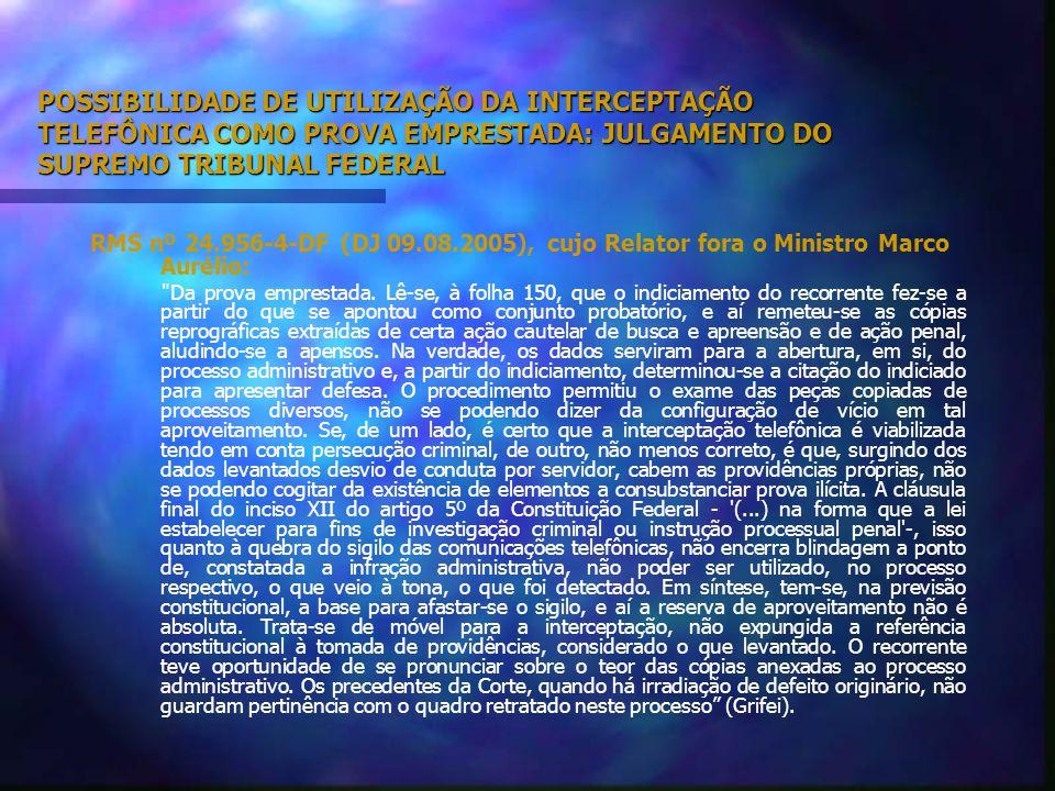 POSSIBILIDADE DE UTILIZAÇÃO DA INTERCEPTAÇÃO TELEFÔNICA COMO PROVA EMPRESTADA: JULGAMENTO DO SUPERIOR TRIBUNAL DE JUSTIÇA.