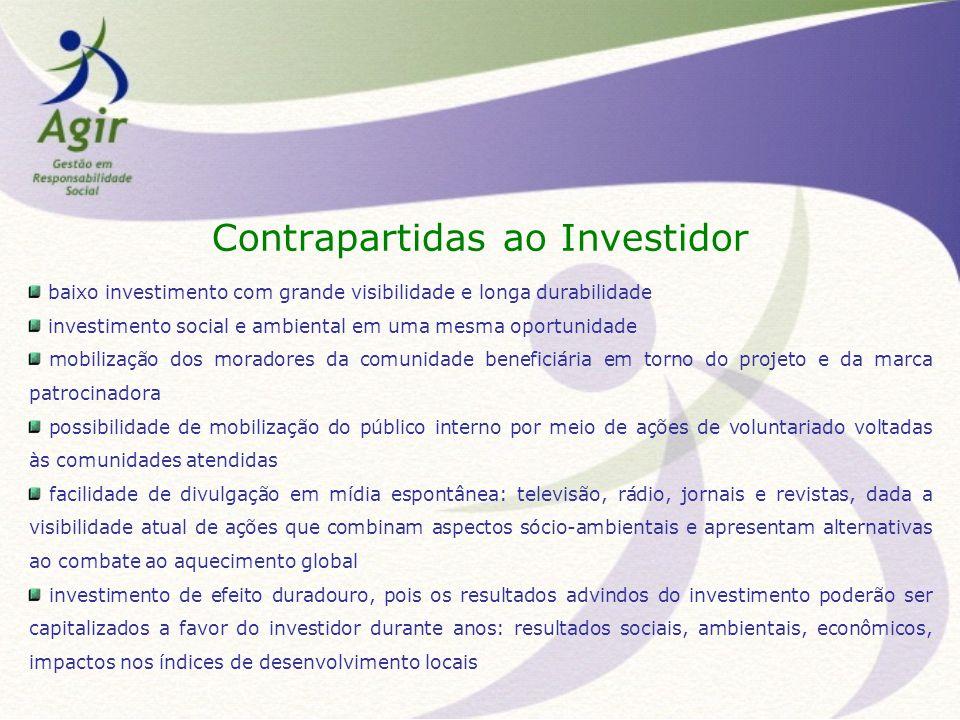 Contrapartidas ao Investidor baixo investimento com grande visibilidade e longa durabilidade investimento social e ambiental em uma mesma oportunidade