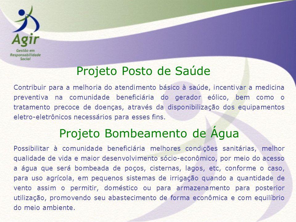Projeto Posto de Saúde Contribuir para a melhoria do atendimento básico à saúde, incentivar a medicina preventiva na comunidade beneficiária do gerado