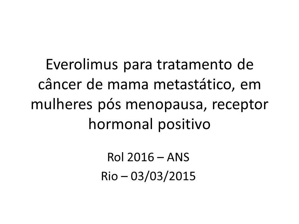 Justificativa para a revisão 1.Consta do Rol RN 338/2013  Câncer de mama metastático receptor hormonal positivo após falha de primeira linha hormonal, em associação com exemestano 2.