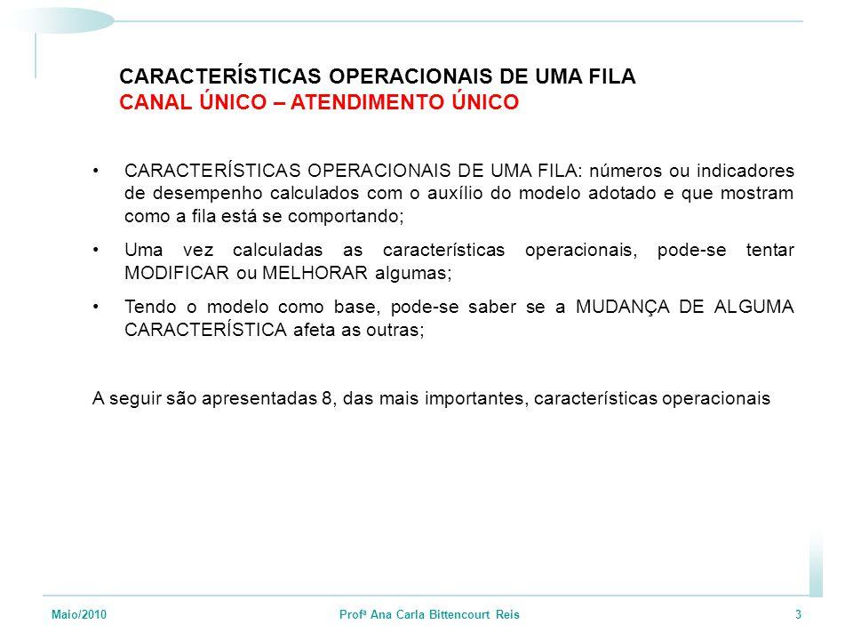 Maio/2010 Prof a Ana Carla Bittencourt Reis 3 CARACTERÍSTICAS OPERACIONAIS DE UMA FILA: números ou indicadores de desempenho calculados com o auxílio