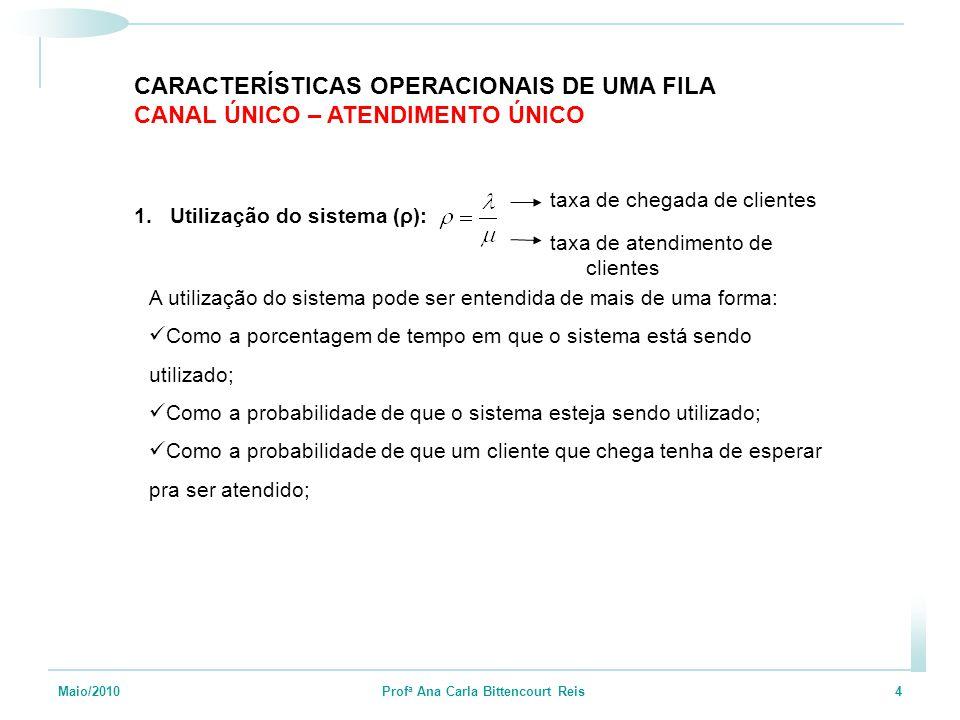 Maio/2010 Prof a Ana Carla Bittencourt Reis 4 CARACTERÍSTICAS OPERACIONAIS DE UMA FILA CANAL ÚNICO – ATENDIMENTO ÚNICO 1.Utilização do sistema (ρ): taxa de chegada de clientes taxa de atendimento de clientes A utilização do sistema pode ser entendida de mais de uma forma: Como a porcentagem de tempo em que o sistema está sendo utilizado; Como a probabilidade de que o sistema esteja sendo utilizado; Como a probabilidade de que um cliente que chega tenha de esperar pra ser atendido;