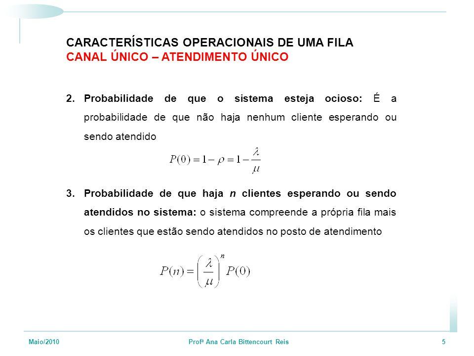 Maio/2010 Prof a Ana Carla Bittencourt Reis 5 2.Probabilidade de que o sistema esteja ocioso: É a probabilidade de que não haja nenhum cliente esperan